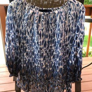 Peasant blouse Susan Graver pretty blue small